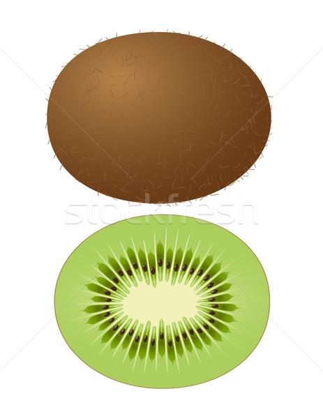 Vektor kiwi egész gyümölcs fél étel Stock fotó © Mcklog