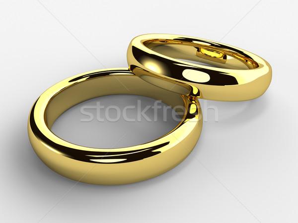 Jegygyűrűk render izolált arany egy esküvő Stock fotó © Mcklog