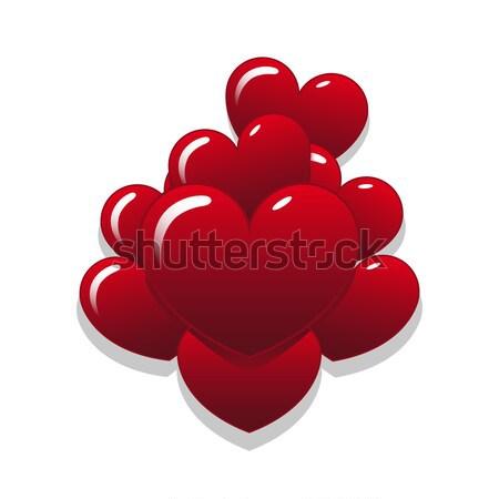 Szív léggömbök vektor alakú boldog absztrakt Stock fotó © Mcklog