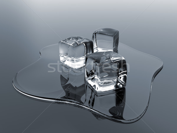 Jégkockák render tükröződő felület víz fény Stock fotó © Mcklog