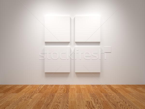Négy vászon fehér kiállítás textúra fal Stock fotó © Mcklog