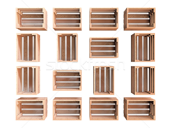 Group of Wooden Crates Stock photo © Mcklog