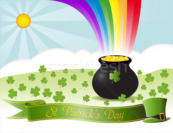 вектора День Святого Патрика счастливым солнце зеленый радуга Сток-фото © Mcklog