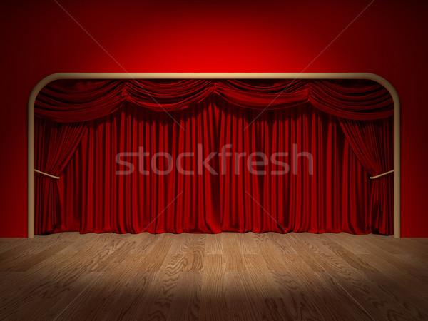 театра шторы оказывать фон красный этап Сток-фото © Mcklog