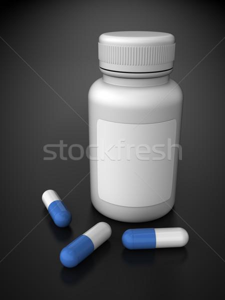 Gyógyszeres üveg render kapszulák tükröződő felület kék Stock fotó © Mcklog