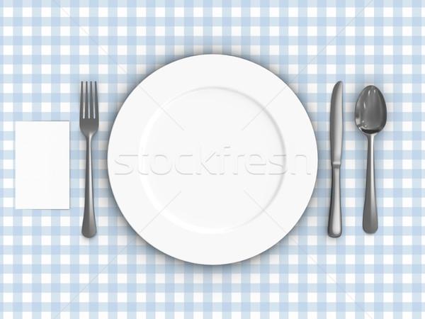 Asztalterítő render asztal étel kés acél Stock fotó © Mcklog