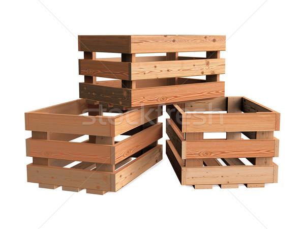 Heap of wooden crates Stock photo © Mcklog