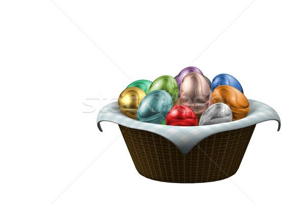 Kosár húsvéti tojások render tele színes ruha Stock fotó © Mcklog