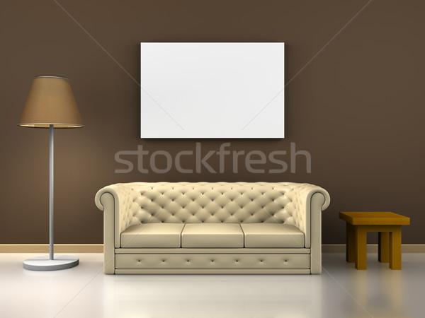 Kanapé dekoráció render belső jelenet ház Stock fotó © Mcklog