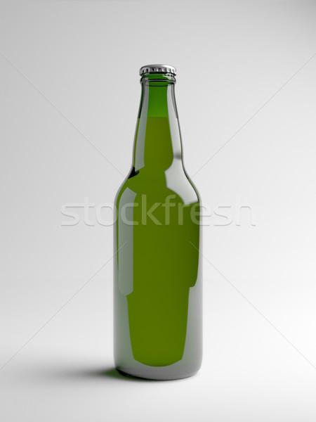 Groene bierfles geven witte licht achtergrond Stockfoto © Mcklog