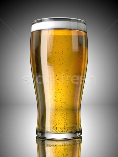 Cerveja quartilho completo bubbles cinza fundo Foto stock © Mcklog