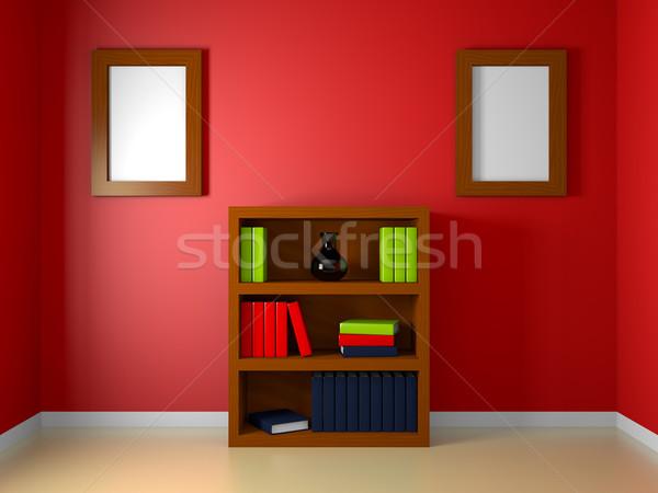 Könyvtár szoba render könyvespolc piros háttér Stock fotó © Mcklog