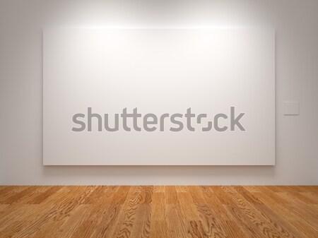 Geniş tuval beyaz sergi doku duvar Stok fotoğraf © Mcklog