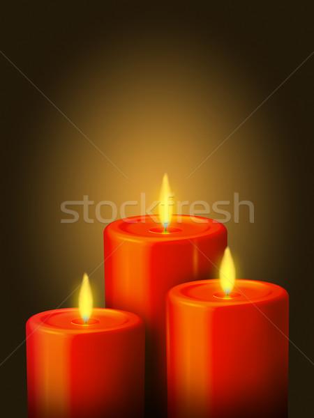 Piros gyertyák illusztráció arany tűz absztrakt Stock fotó © Mcklog