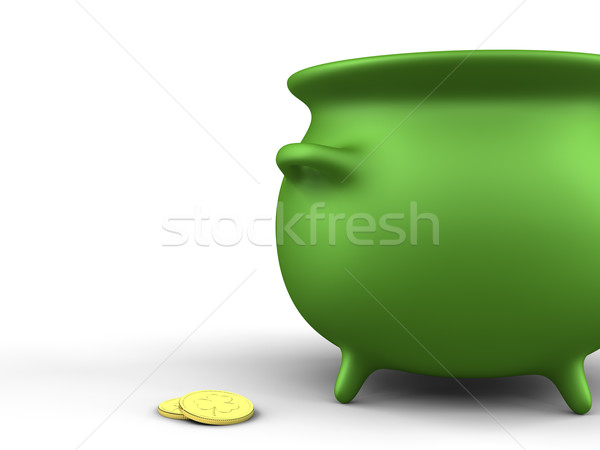 Green Pot and coins Stock photo © Mcklog