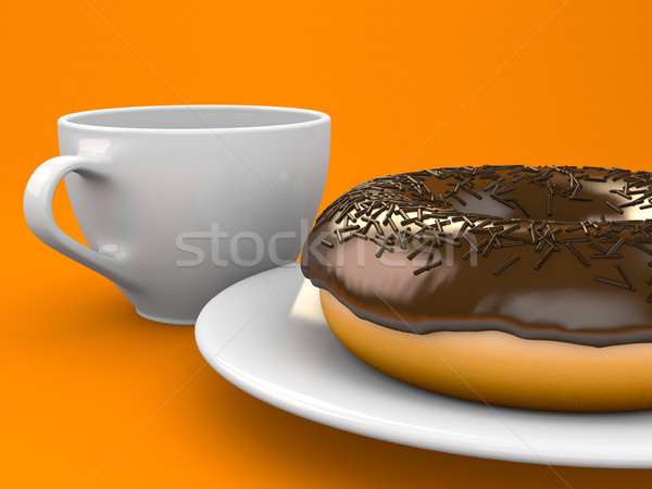 Fánk csokoládé étel kávé torta stúdió Stock fotó © Mcklog