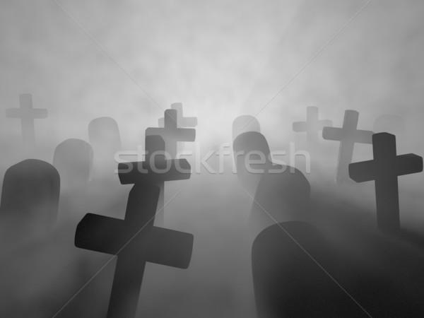 Cmentarz oddać mglisty noc krzyż tle Zdjęcia stock © Mcklog
