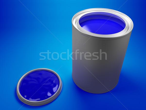 Secchio di vernice blu vernice sfondo metal Foto d'archivio © Mcklog