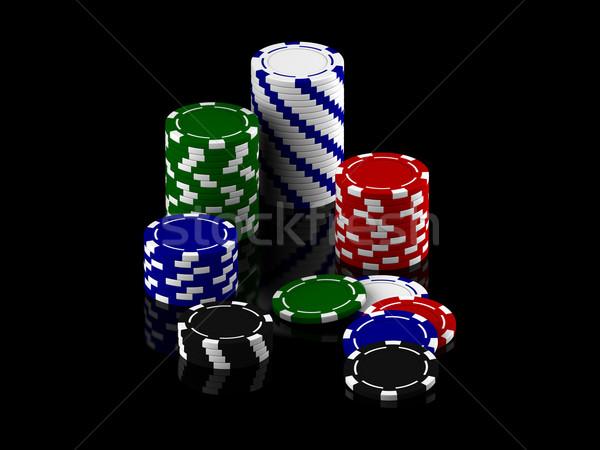 фишки для покера оказывать черный синий чипа Сток-фото © Mcklog