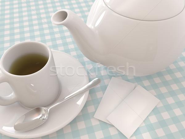 Tea teáskanna render bögre kanál cukor Stock fotó © Mcklog