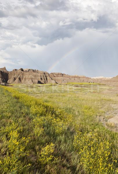 Szivárvány vadon park Dél-Dakota Egyesült Államok felhők Stock fotó © mdfiles