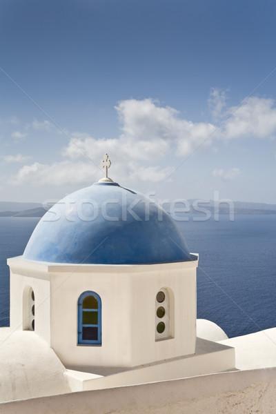 Mavi kubbe beyaz kilise santorini adası su Stok fotoğraf © mdfiles