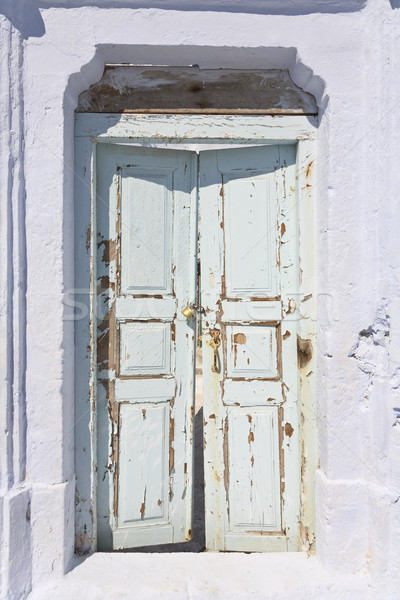Yıpranmış kapı Yunan ada santorini adası deniz Stok fotoğraf © mdfiles