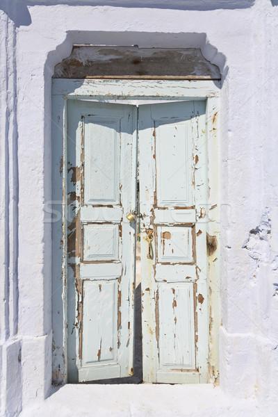 Viharvert ajtó görög sziget Santorini tenger Stock fotó © mdfiles