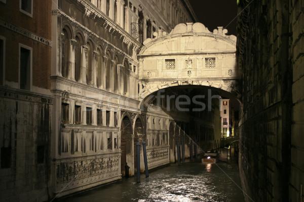 Köprü İtalyan ad gece Venedik İtalya Stok fotoğraf © mdfiles