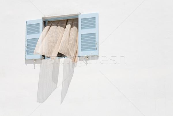 Yunan pencere açmak beyaz duvar bo Stok fotoğraf © mdfiles