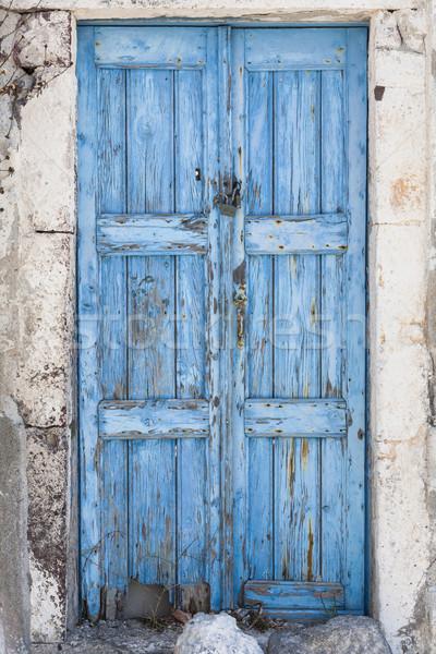 青 ドア 風化した 島 サントリーニ ギリシャ ストックフォト © mdfiles