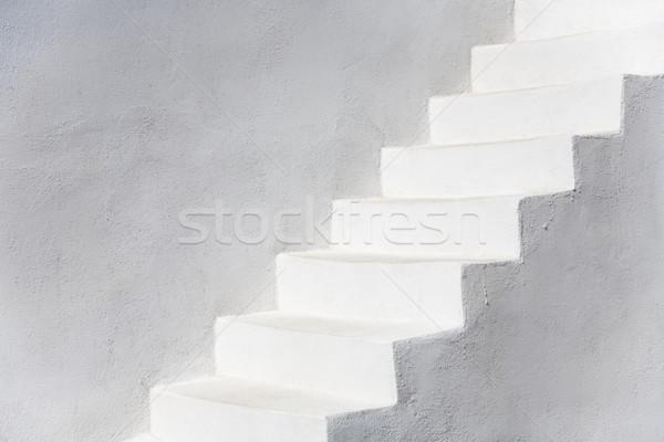 Egyszerűen fehér lépcsősor Santorini Görögország Európa Stock fotó © mdfiles