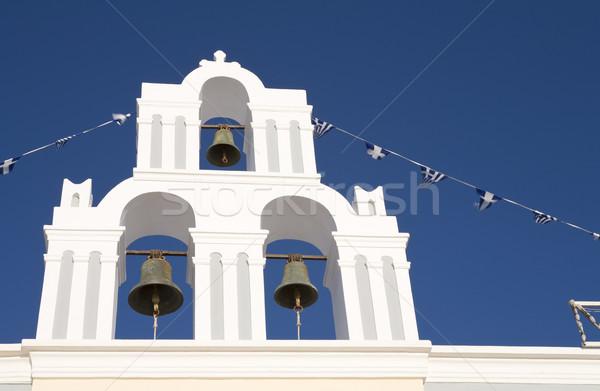 Bel toren typisch vulkanisch eiland santorini Stockfoto © mdfiles