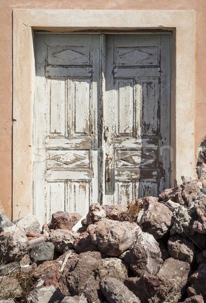 Ajtó láva kövek Santorini dél festék Stock fotó © mdfiles