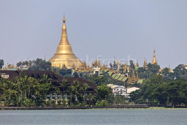 Pagoda göl birmanya Myanmar güneydoğu asya su Stok fotoğraf © mdfiles