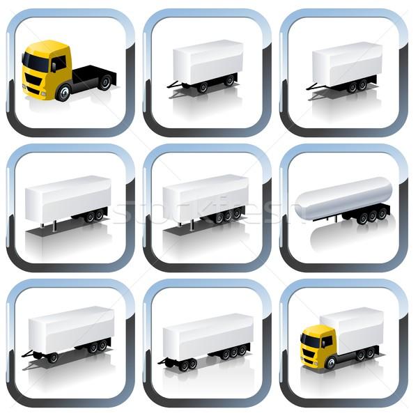 Vector trailers icon set Stock photo © mechanik