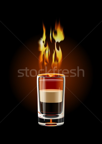 Vector B-52 Shot cocktail (flame with transparency) Stock photo © mechanik