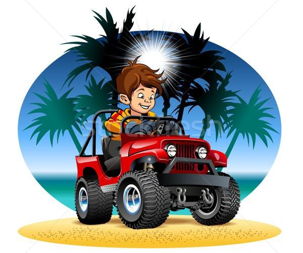 Vector cartoon jongen rijden 4x4 auto Stockfoto © mechanik