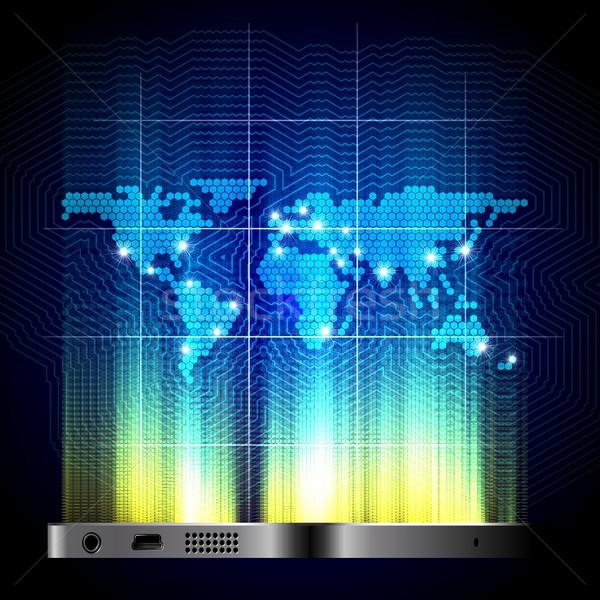 Globale cellulari mappa del mondo gadget telefono Foto d'archivio © mechanik