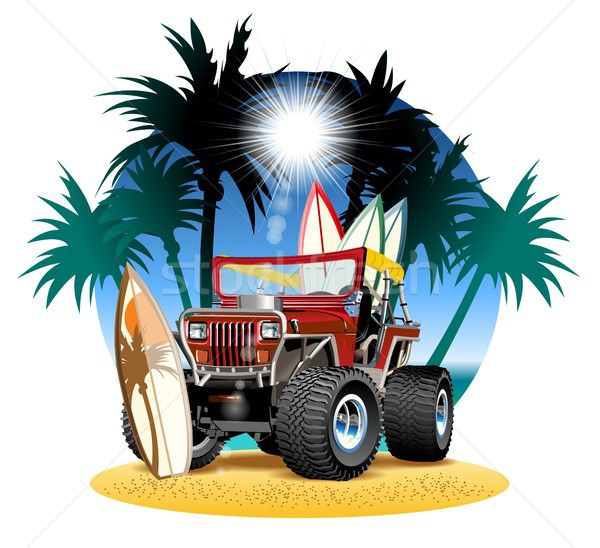 Vector cartoon 4x4 car on beach Stock photo © mechanik