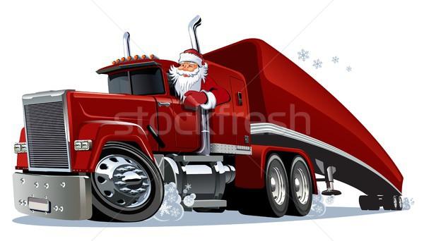 Cartoon retro Christmas truck Stock photo © mechanik
