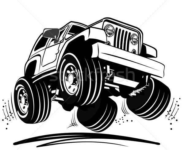 Vector cartoon jeep reizen silhouet race Stockfoto © mechanik