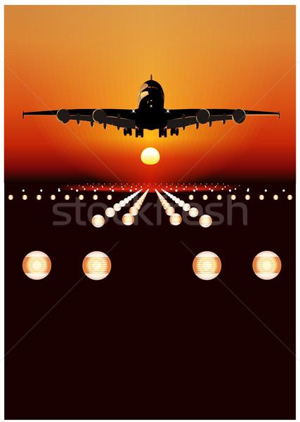 Airliner landing at skyline Stock photo © mechanik