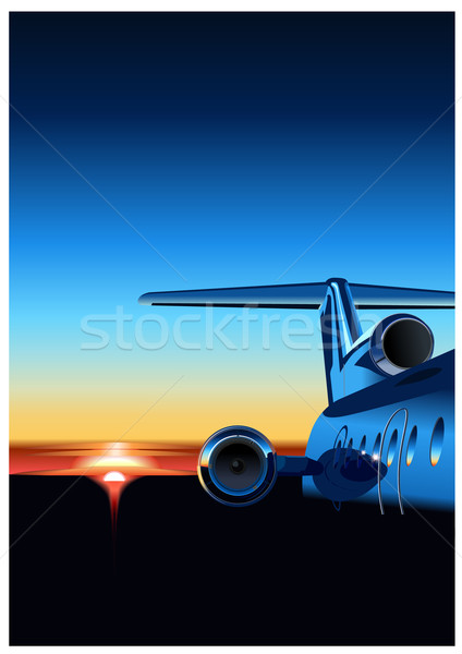 Aereo sunrise business cielo blu skyline Foto d'archivio © mechanik