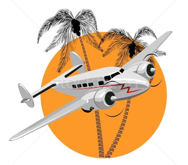Karikatür Retro uçak ağaç gün batımı deniz Stok fotoğraf © mechanik