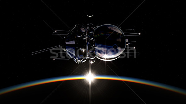 First spaceship on orbit Stock photo © mechanik