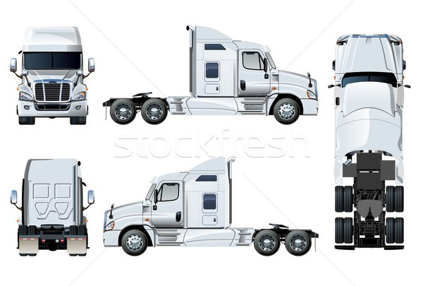 Stock photo: Vector semi-truck template isolated on white