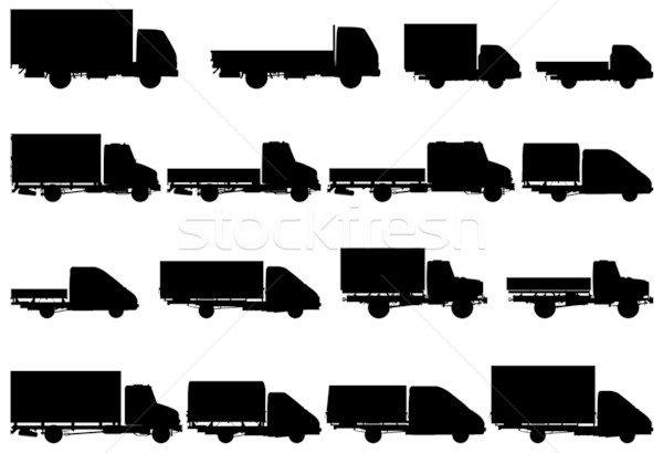 Photo stock: Vecteur · camion · silhouettes · affaires · construction