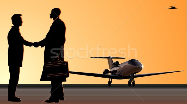 El sıkışma pist jet adam siluetleri iş Stok fotoğraf © mechanik