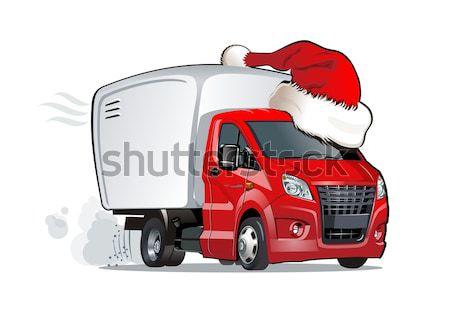 Stock fotó: Vektor · karácsony · házhozszállítás · teher · teherautó · eps8